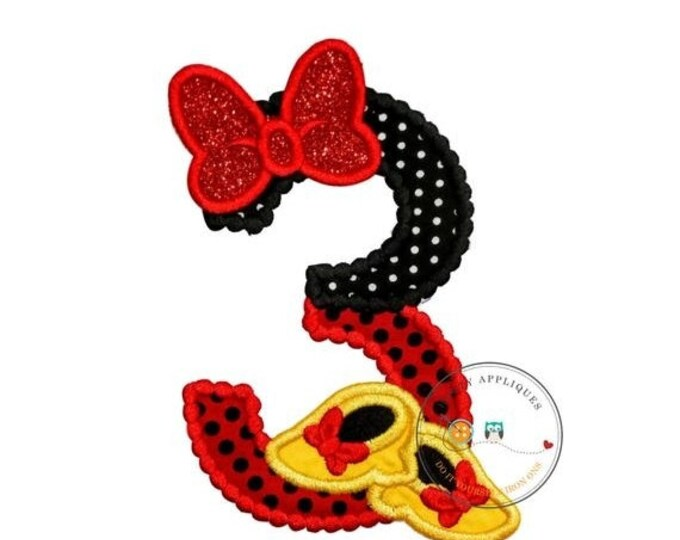 LIQUIDATION SALE Red and black birthday number 3 with glitter bow iron on embroidered applique, 3rd birthday patch for girl, Minnie inspired