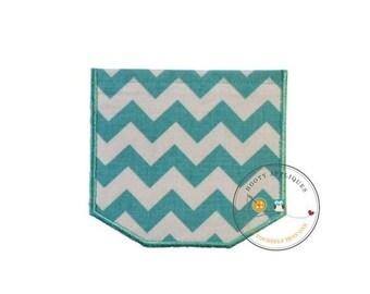 LIQUIDATION SALE Faux pocket teal aqua chevron Iron embroidered fabric applique patch embellishment-ready to ship