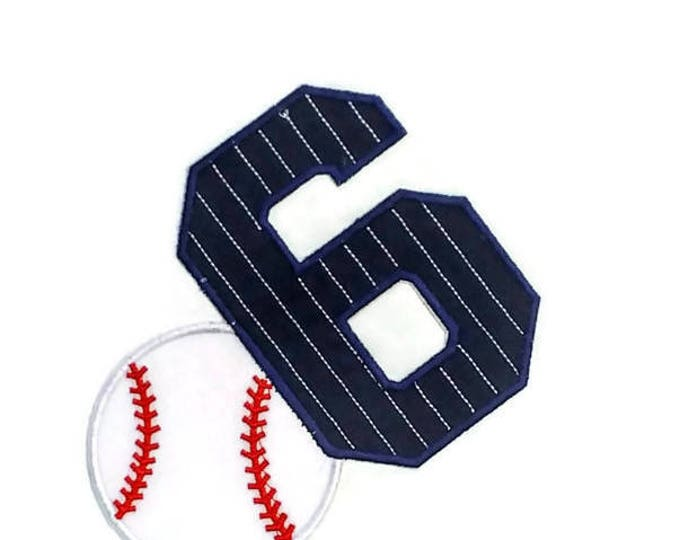 Pin stripped baseball birthday number 6 iron on, Navy blue with white pin stripes 6th birthday iron on applique, ready to ship, sports iron