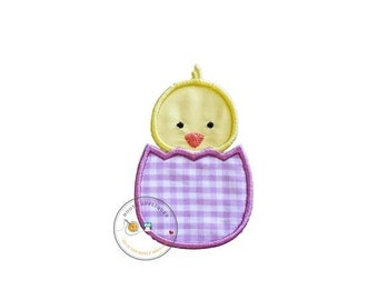 On Sale NOW Easter baby chick in light purple gingham egg iron on applique, machine embroidered no sew patch for kids clothing, jackets, shi