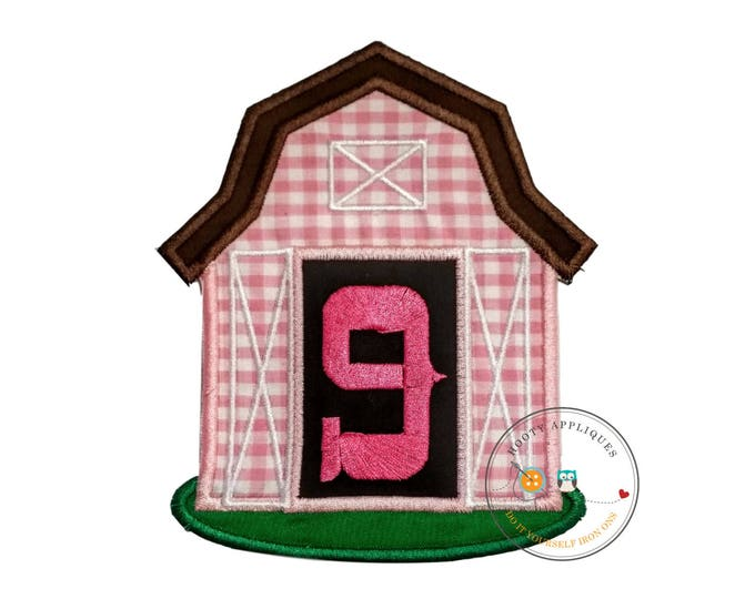 Pink barn birthday number nine iron on applique, Farm yard birthday number 9 embroidered patch, country 7th birthday iron on, ready to ship