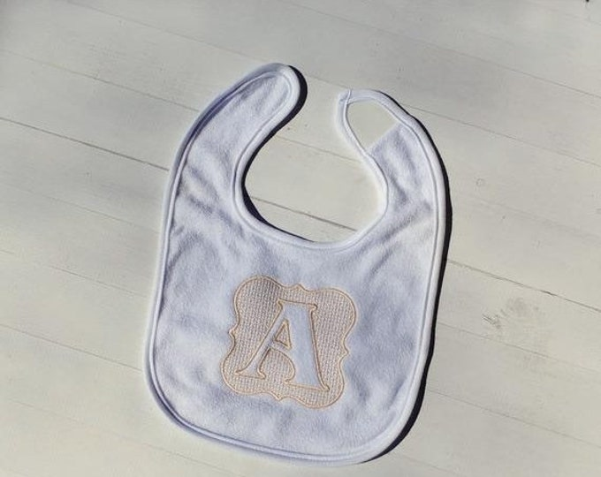 CLEARANCE Embossed initial letter Letter A embroidered Koala Baby cloth baby bibs for 6-12 month old