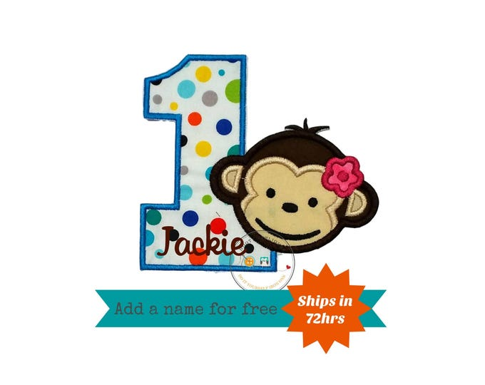 Mod monkey girl with multi-colored polka dots number one iron on applique