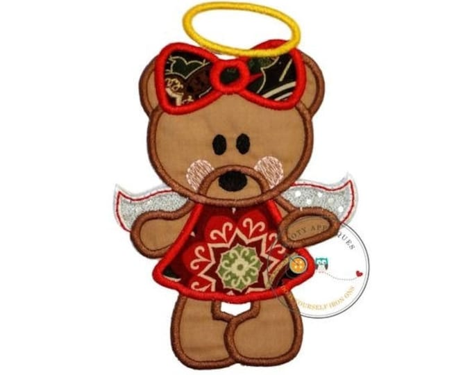 LIQUIDATION SALE Red Christmas angel bear - iron on embroidered fabric applique patch