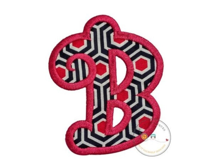 LIQUIDATION SALE Chunky curls letter B iron on applique, Girls nautical monogram, iron on initial B, Blue and pink monogram letter B, Ready