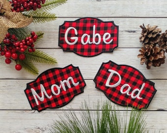 "Personalized Christmas Stocking Iron on Name Tag- 4"" Buffalo plaid Holiday monogram applique"