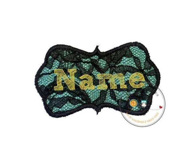 LIQUIDATION SALE Black lace with teal iron on name patch, personalized embroidered iron on name label, lacy monogram patch,  Personalize mon