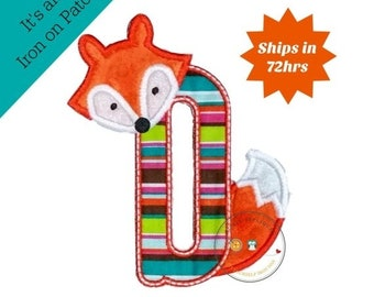 On Sale NOW Woodland fox letter D machine embroidered iron on no sew patch, fox embroidered monogram letter D, ready to ship