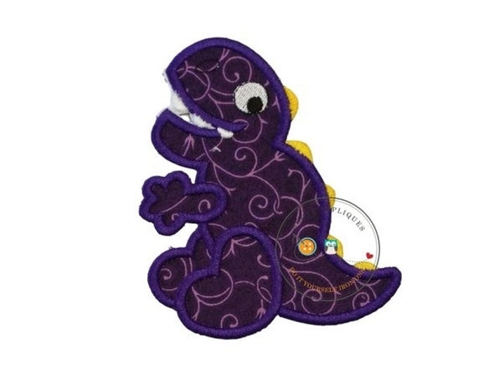 LIQUIDATION SALE Large purple with pattern dino - iron embroidered fabric applique patch embellishment- ready to ship