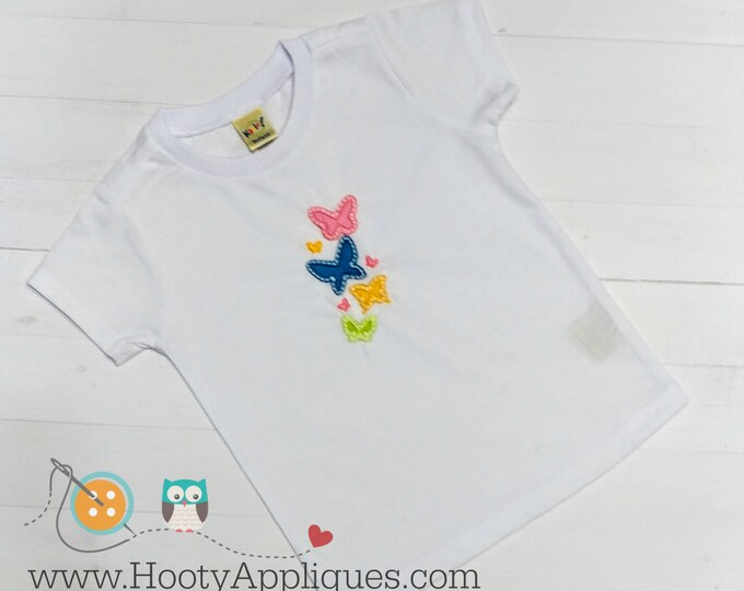 Bright multi-color butterfly embroidered t shirt for girls- Spring and summer top for toddlers-