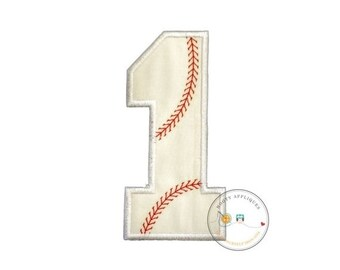 ON SALE Large baseball number-Iron on embroidered fabric applique patch embellishment- ready to ship