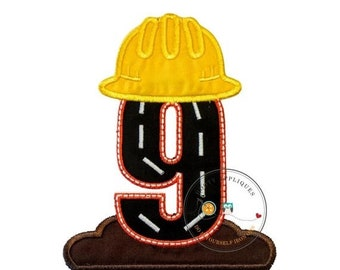 LIQUIDATION SALE Hard hat construction birthday number 9 iron on, Road construction and dirt ninth birthday iron on applique, ready to ship,
