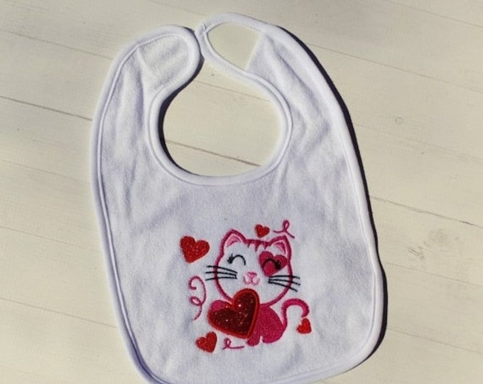 CLEARANCE Kitten with glitter hearts Valentine's day white embroidered terri cloth baby bibs  girls and boys