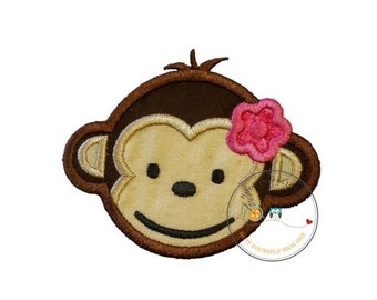 LIQUIDATION SALE Girl mod monkey face. Iron embroidered fabric applique patch embellishment-ready to ship