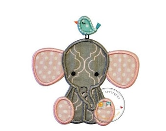 ON SALE Little elephant iron on applique in pink with white polka-dots and gray and pink fabric, matching thread, and a light blue bird on i