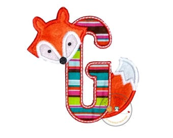 Woodland fox letter G machine embroidered iron on no sew patch, fox embroidered monogram letter g, ready to ship