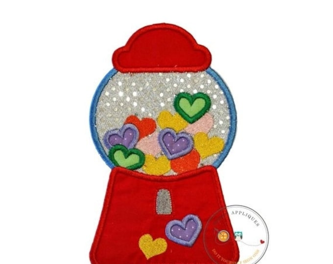LIQUIDATION SALE Candy heart bubblegum machine, Valintine's day emboridered iron on applique, pre-made ready to ship, DIY, Holiday, Love