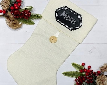 """ON SALE Personalized Christmas Stocking Name Patch-4.75"""" Black and white plaid applique ***Ships in 72 hours***"""