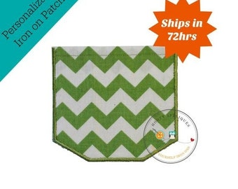 LIQUIDATION SALE Faux pocket green chevron Iron embroidered fabric applique patch embellishment-ready to ship