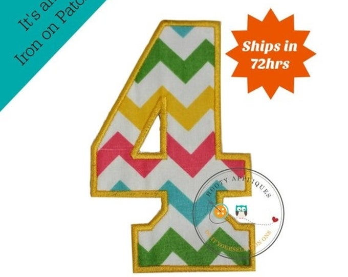 LIQUIDATION SALE Large teal, yellow, green and pink chevron  number 4- iron embroidered fabric applique patch embellishment- ready to ship