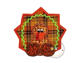 LIQUIDATION SALE Fall orange and brown turkey- baby - iron embroidered fabric applique patch embellishment- ready to ship
