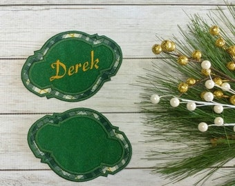 """LIQUIDATION SALE Personalized Christmas Stocking Name Patch- 5"""" Green and gold plaid name badge"""