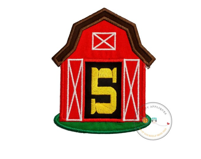 Red barn birthday number five iron on applique, Farm yard birthday number 5 embroidered patch, country fifth birthday iron on,
