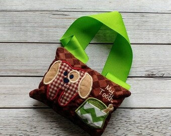 LIQUIDATION SALE Puppy tooth fairy pocket pillow- Personalize with a name- ***Fast Shipping***