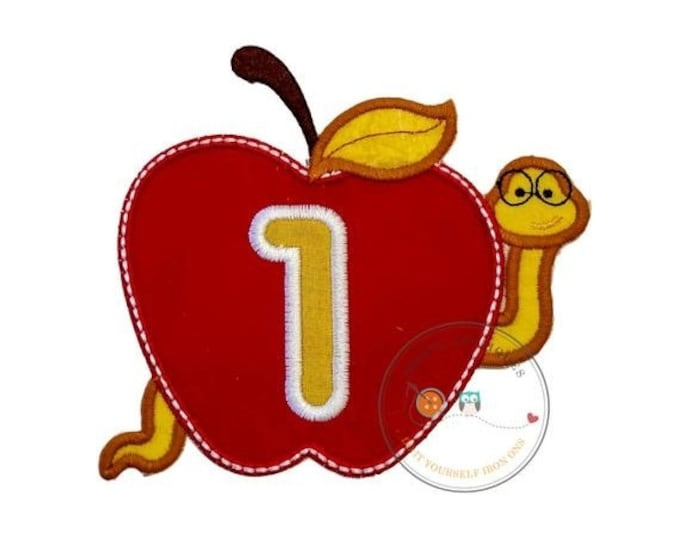 LIQUIDATION SALE Teacher red apple with bookworm and number one iron on applique, Embroidered back to school no sew patch, Large first grade