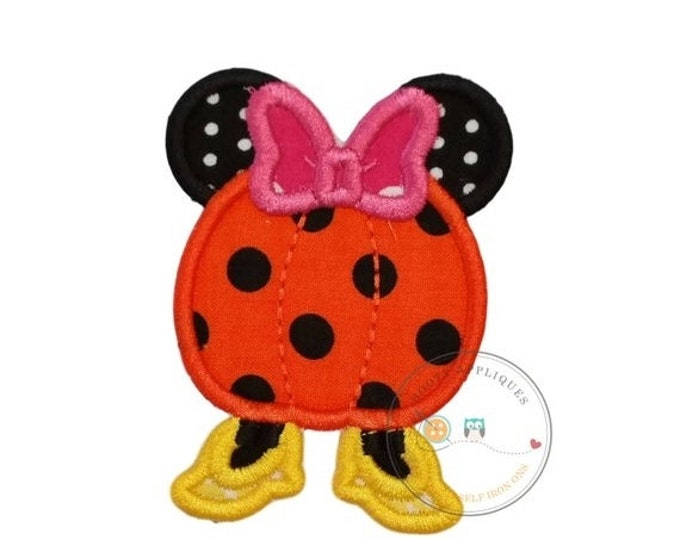 LIQUIDATION SALE Small  4x4 Girl pumpkin with mouse ears Halloween fabric iron on applique, Halloween machine embroidered no-sew patch for g