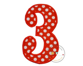 Orange and white dot birthday number three iron on applique- 3rd birthday fabric machine embroidered fabric patch-DIY boutique fashions
