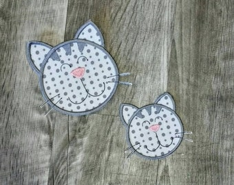 LIQUIDATION SALE Gray  and white cat face iron t-shirt applique- ready to ship