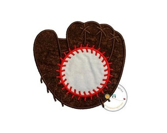 LIQUIDATION SALE Over sized monogram baseball mitt and ball iron on applique, Embroidered fabric baseball glove with baseball iron on patch,