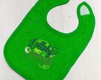 On Sale NOW Lullaby and goodnight green embroidered Koala Baby cloth baby bibs for 6-12 month old girls and boys