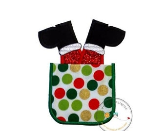 LIQUIDATION SALE Faux Christmas pocket embroidered iron on applique, Santa suck in pocket iron on holiday patch, Christmas stuck santa no se