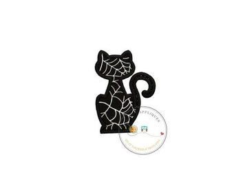 ON SALE Black cat silhouette with silver metallic web pattern fabric iron on applique-Halloween black cat fabric no sew patch- ready to ship