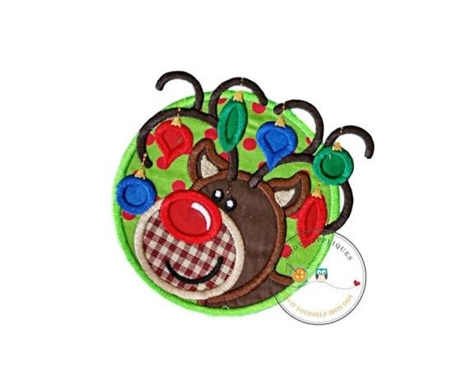 LIQUIDATION SALE Christmas lights tangled boy reindeer machine embroidered fabric iron on no sew patch, holiday patch for kids clothing