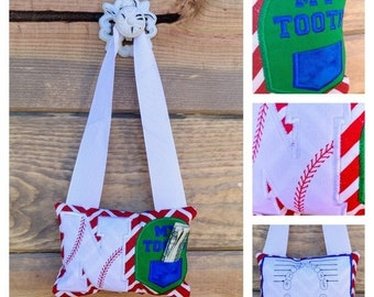 LIQUIDATION SALE Baseball initial letter themed fairy pocket pillow- red, blue and white-select you letter