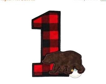 ON SALE Lumberjack birthday number 1, boy embroidered woodland iron on applique, buffalo plaid birthday number 1 iron on patch, birthday num