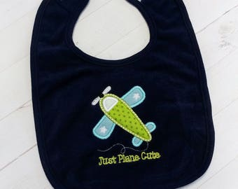 Just plane cute with green and  blue  air plane embroidered terri cloth baby bibs for boy and girls