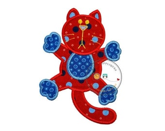 On Sale NOW Large red cat. Iron embroidered fabric applique patch embellishment-ready to ship