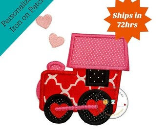 On Sale NOW Love train valentine's day holiday fabric iron on applique- DIY- Ready to ship- Pre-made, Embellishment Junkies