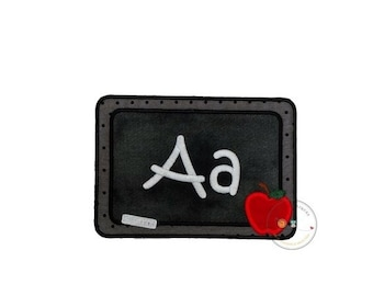 ON SALE Blackboard with chalk letters iron on applique, machine embroidered iron on back to school patch, fabric no sew chalkboard patch