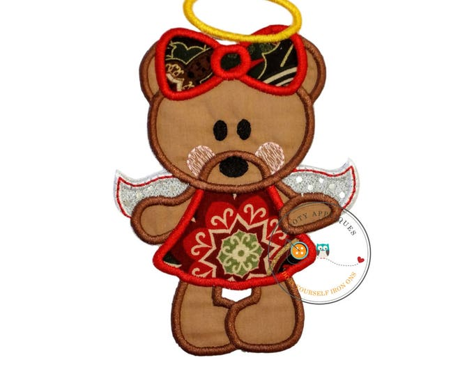 Red Christmas angel bear - iron on embroidered fabric applique patch