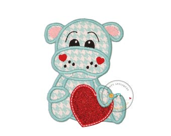 Hippo love machine embroidered fabric iron on applique, Cute Valentine's day iron on applique  red glitter, Valentine's day t-shirt patch