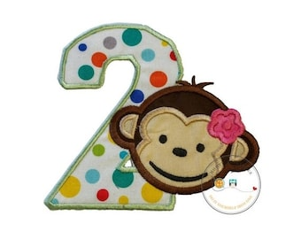 LIQUIDATION SALE Girl mod monkey number two iron on applique, girl monkey 2nd birthday theme party patch, green and multi-color polka dot nu