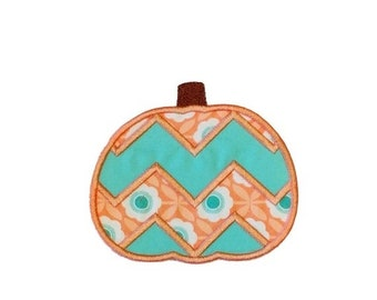 LIQUIDATION SALE Coral and teal chevron pumpkin fabric iron on applique- fall no sew embroidered patch- ready to ship