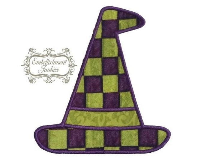 LIQUIDATION SALE Green and purple witch hat- iron on embroidered fabric applique patch