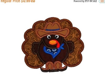 LIQUIDATION SALE Cowboy turkey fabric iron on applique- Western Thanksgiving turkey no sew embroidered patch- ready to ship
