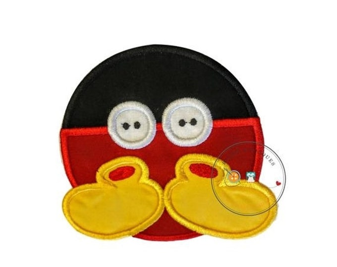 LIQUIDATION SALE Mickey Mouse inspired iron on button applique, circle iron on patch done in traditional mickey mouse color scheme, ready to